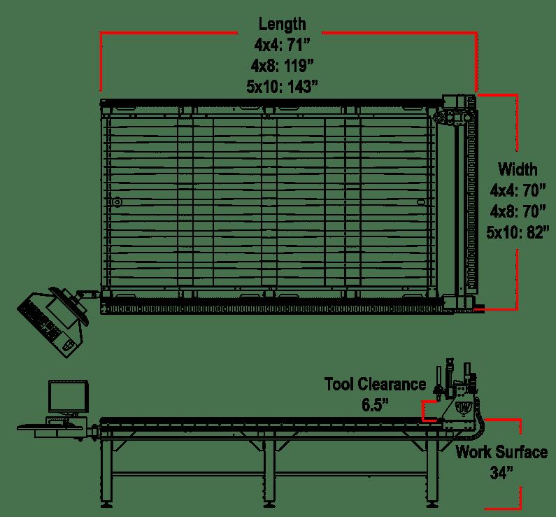 Westcott Plasma's Titan Series CNC Plasma Cutting Table Dimensions